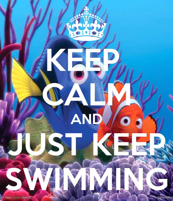KEEP CALM AND JUST SWIMMING Poster Sam Keep Calm