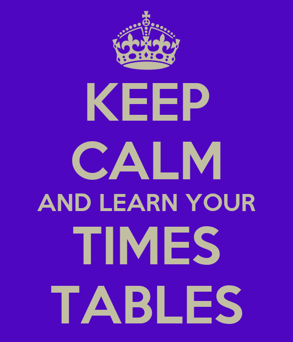 KEEP CALM AND LEARN YOUR TIMES TABLES Poster | LIZ | Keep Calm-o-Matic