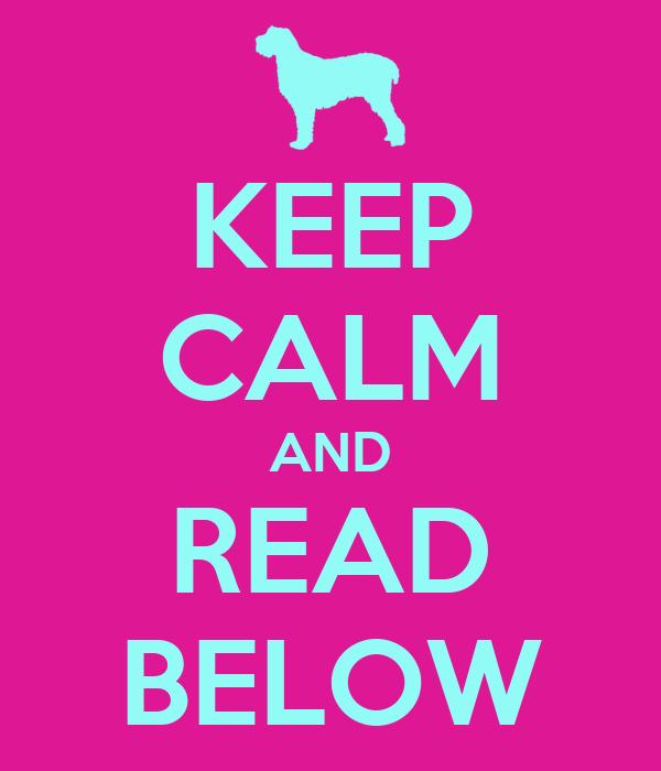 KEEP CALM AND READ BELOW Read Below Sign