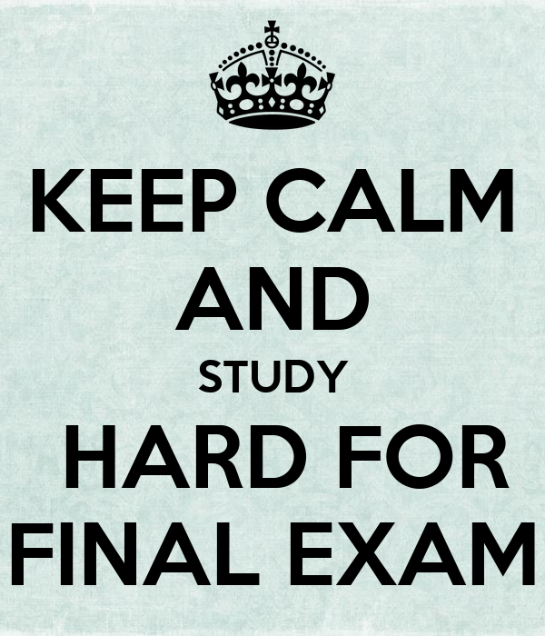 how to study for final exam While there is no single simple solution, you can do a few things to help ensure success on your final exam before you take your first exam ideally, work your way through the complete course, taking careful notes on terms, major concepts, etc pay special attention to the course and unit learning outcomes -- you should feel comfortable with each of them.