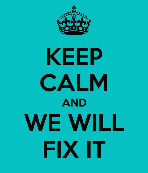 We'll fix it