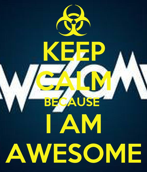 KEEP CALM BECAUSE I AM AWESOME - KEEP CALM AND CARRY ON Image ...