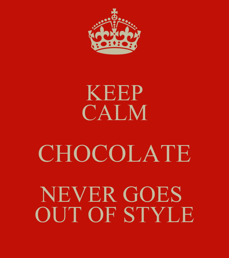 Keep Calm Chocolate Never Goes Out Of Style Poster Porsha Keep Calm O Matic
