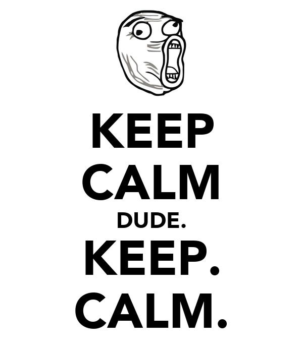KEEP CALM DUDE. KEEP. CALM. Poster | skittzlee | Keep Calm ...