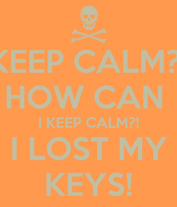 KEEP CALM?! HOW CAN I KEEP CALM?! I LOST MY KEYS! Poster | Joey ...