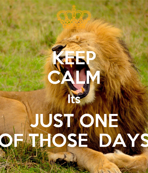 KEEP CALM Its JUST ONE OF THOSE DAYS - KEEP CALM AND CARRY ON Image ...