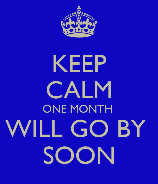 KEEP CALM ONE MONTH  WILL GO BY  SOON