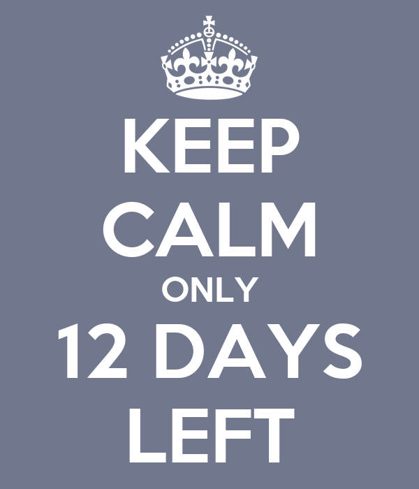 12 Days Before Christmas Gift Ideas: KEEP CALM ONLY 12 DAYS LEFT Poster
