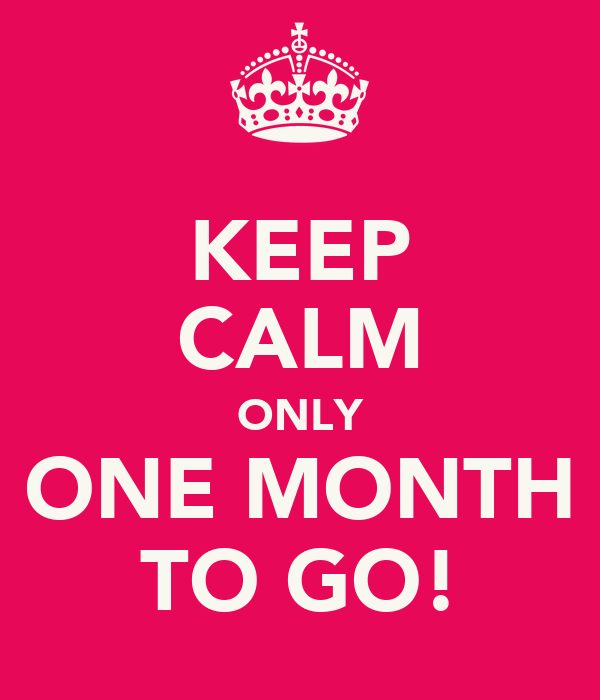 KEEP CALM ONLY ONE MONTH TO GO! Poster   Spela