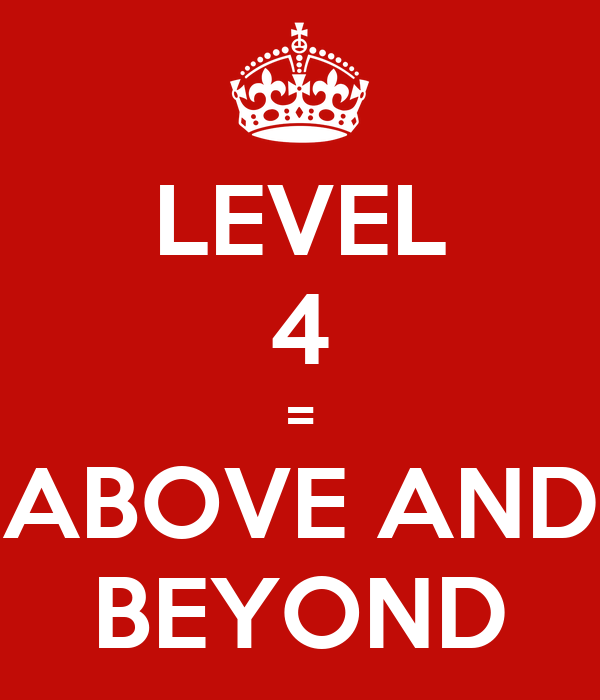 Level 4 Above And Beyond Keep Calm And Carry On Image