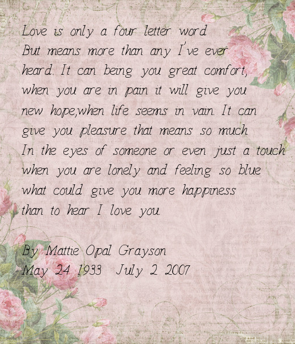 I Love You More Than Quotes: Love Is Only A Four Letter Word But Means More Than Any I