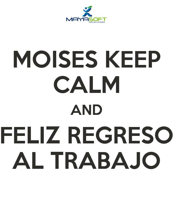 Moises Keep Calm And Feliz Regreso Al Trabajo Poster Daniela