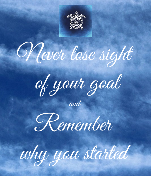 Never Lose Sight Of Your Goal And Remember Why You Started Poster