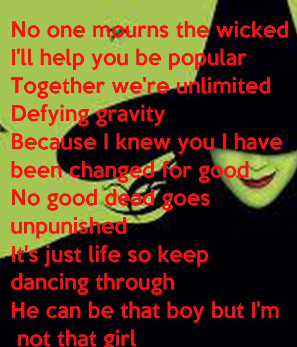 no one mourns the wicked No one mourns the wicked chords by wicked learn to play guitar by chord and tabs and use our crd diagrams, transpose the key and more.
