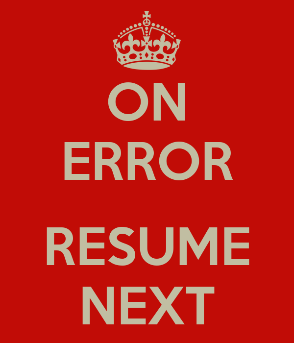 Vba on error resume goto