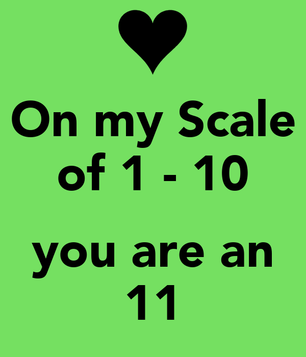 Image result for on a scale of 1 to 10 you are an 11