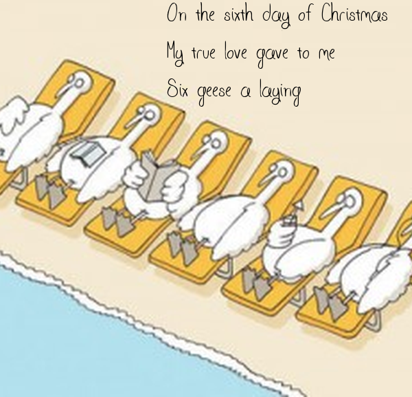 On the sixth day of Christmas My true love gave to me Six geese a ...