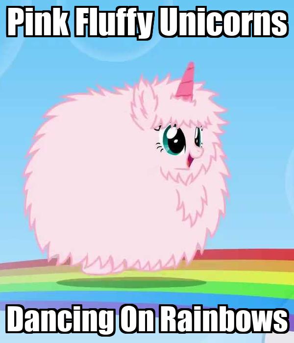 pink fluffy unicorns on rainbows poster