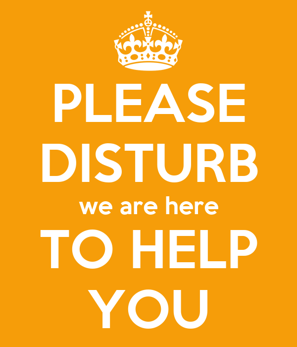 PLEASE DISTURB We Are Here TO HELP YOU Poster