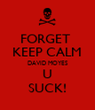 FORGET  KEEP CALM DAVID MOYES U SUCK! - Personalised Poster large