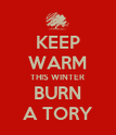 KEEP WARM THIS WINTER BURN A TORY - Personalised Poster large