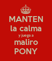 MANTEN la calma y juega a maliro PONY - Personalised Poster large