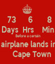 73      6       8 Days  Hrs    Min  Before a certain  airplane lands in     Cape Town - Personalised Tea Towel: Premium