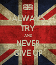 ALWAYS TRY AND NEVER GIVE UP - Personalised Tea Towel: Premium