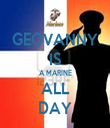 GEOVANNY IS A MARINE ALL DAY - Personalised Tea Towel: Premium