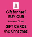 Gift for her? BUY OUR Kathleen's Closet GIFT CARDS this Christmas! - Personalised Tea Towel: Premium