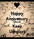 Happy Anniversary 1 Month Keep Longlast - Personalised Tea Towel: Premium