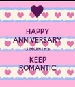 HAPPY ANNIVERSARY 3 MONTHS KEEP ROMANTIC - Personalised Tea Towel: Premium