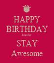 HAPPY BIRTHDAY Jennifer  STAY Awesome - Personalised Tea Towel: Premium