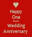 Happy One Month Wedding Anniversary  - Personalised Tea Towel: Premium