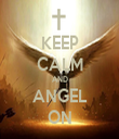 KEEP CALM AND ANGEL ON - Personalised Tea Towel: Premium