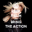 KEEP CALM AND BRING THE ACTION - Personalised Tea Towel: Premium