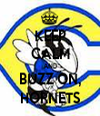 KEEP CALM AND BUZZ ON, HORNETS - Personalised Tea Towel: Premium