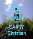 KEEP CALM AND CARRY Christian - Personalised Tea Towel: Premium