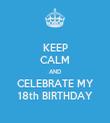 KEEP CALM AND CELEBRATE MY 18th BIRTHDAY - Personalised Tea Towel: Premium