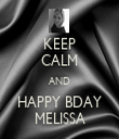 KEEP CALM AND HAPPY BDAY MELISSA - Personalised Tea Towel: Premium