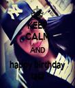 KEEP CALM AND happy birthday tata - Personalised Tea Towel: Premium