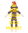 KEEP CALM AND HUG A  SOCK MONKEY - Personalised Tea Towel: Premium