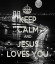 KEEP CALM AND JESUS LOVES YOU - Personalised Tea Towel: Premium