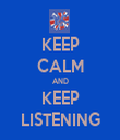 KEEP CALM AND KEEP LISTENING - Personalised Tea Towel: Premium