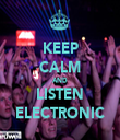 KEEP CALM AND LISTEN ELECTRONIC - Personalised Tea Towel: Premium