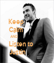 Keep                Calm                AND                            Listen to         Justin              - Personalised Tea Towel: Premium