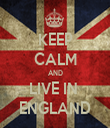 KEEP CALM AND LIVE IN  ENGLAND - Personalised Tea Towel: Premium