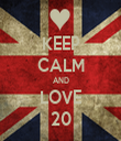 KEEP CALM AND LOVE 20 - Personalised Tea Towel: Premium