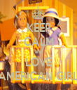 KEEP CALM and LOVE AMERICAN GIRL - Personalised Tea Towel: Premium