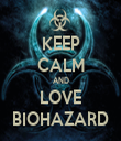KEEP CALM AND LOVE BIOHAZARD - Personalised Tea Towel: Premium